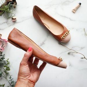 J.CREW Nora Cap toe chain ballet flat tan cream